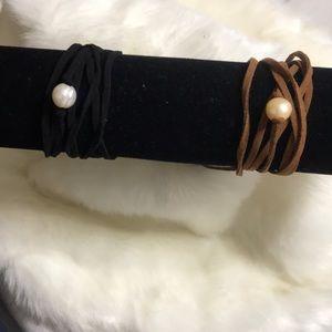 Jewelry - Bracelets leather wrap pearl bracelets